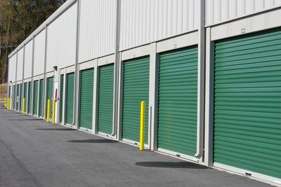 green warehouse doors